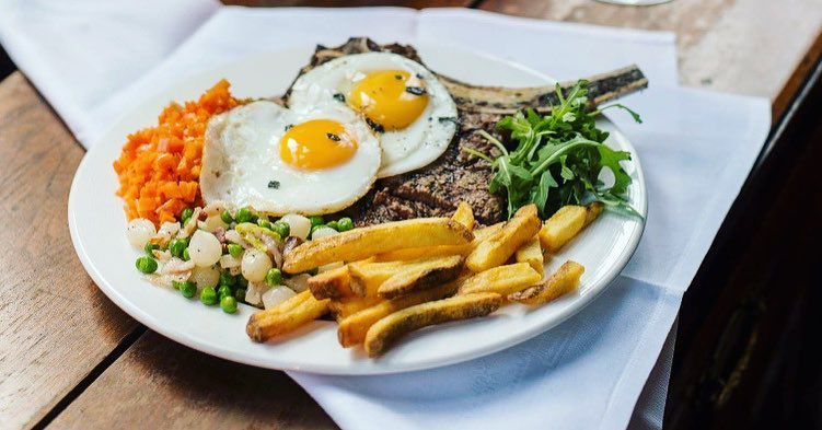 Best pub grub in London: steak, egg and chips at The Guinea Grill in Mayfair