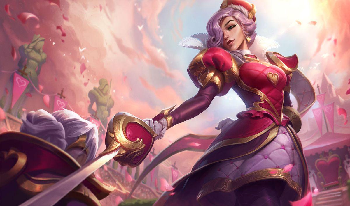 Heartpiercer Fiora knights Heartbreaker Vi in a pink scene surrounded by flora