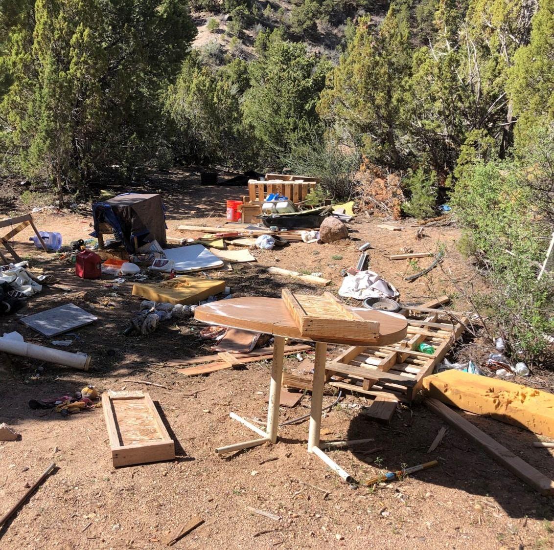 Trash that was left behind at a campsite on Bureau of Land Management land.