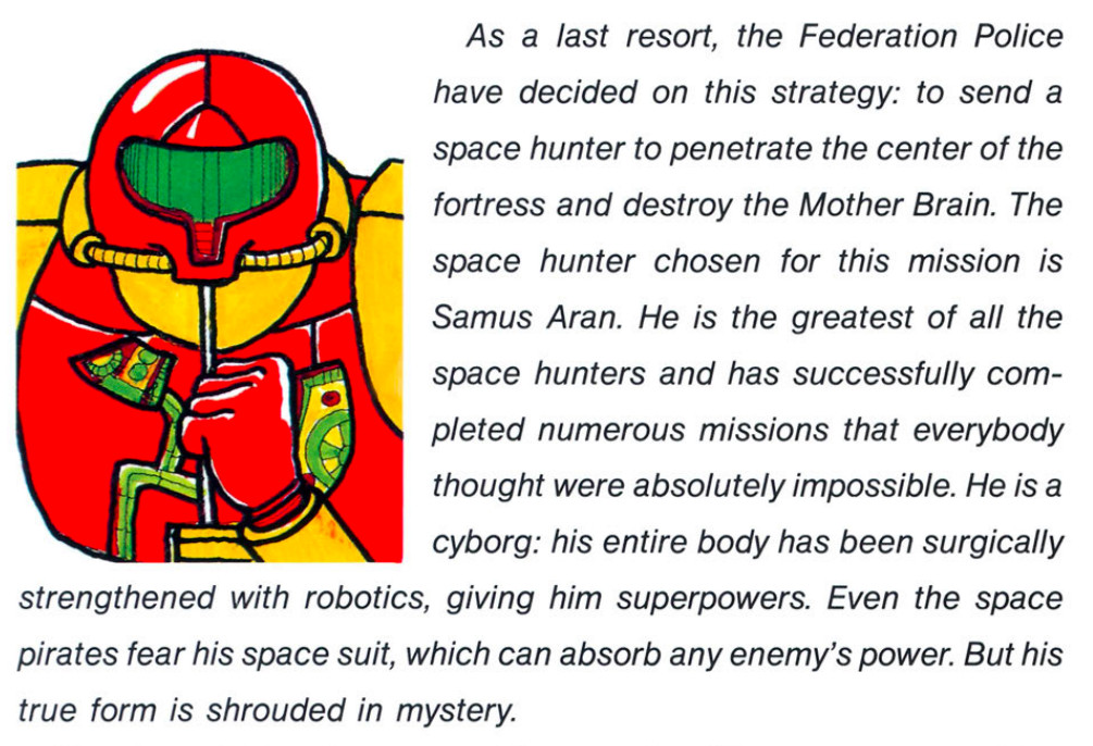 Text from the NES Metroid manual