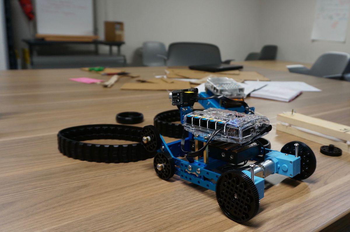 A robot made by Purdue Polytechnic High School student Phoenix Clark.