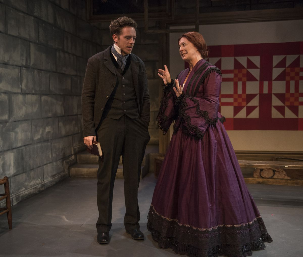 """Steve Haggard plays Dr. Simon Jordan and Jane Baxter Miller is Mrs. Rachel Lavell in the Rivendell Theatre production of """"Alias Grace."""" (Photo: Michael Brosilow)"""