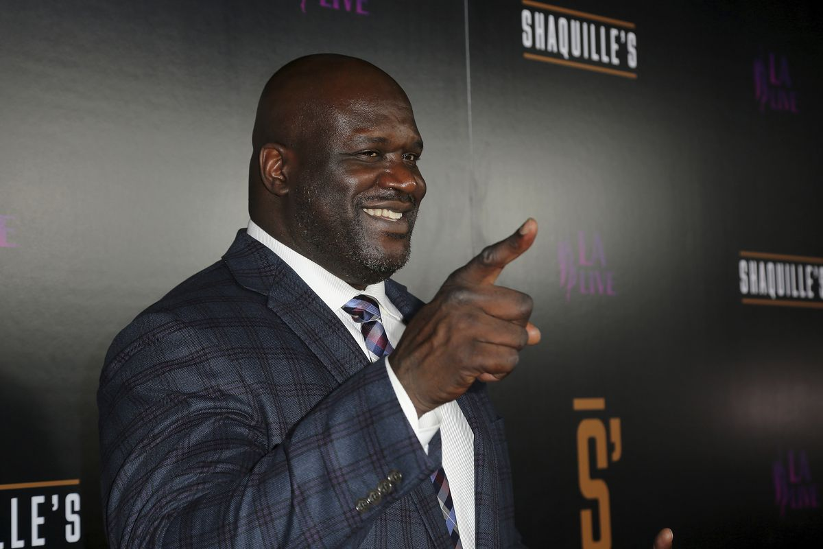 Shaquille O'Neal arrives at the grand opening of Shaquille's at LA Live on Saturday, March 9, 2019, in Los Angeles.
