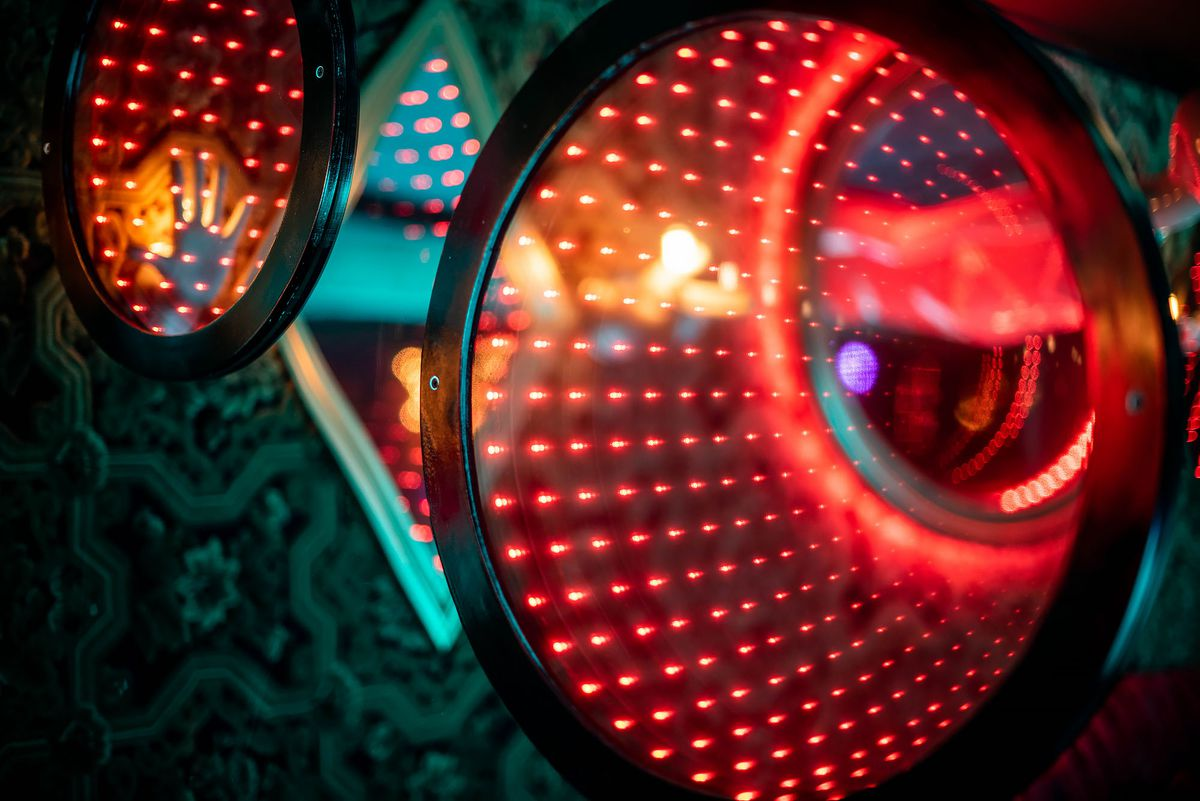 Close up of disco lights and colorful accents in Koreatown nightclub.