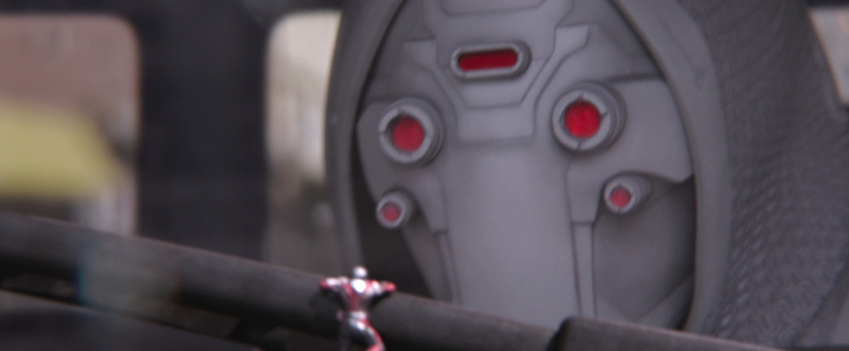 Ant-Man climbs up Ghost's arm in Ant-Man and the Wasp
