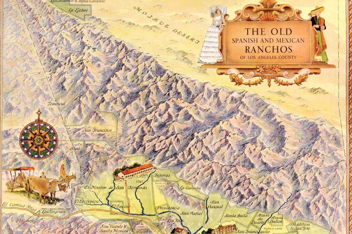 A map of old ranchos in Southern California