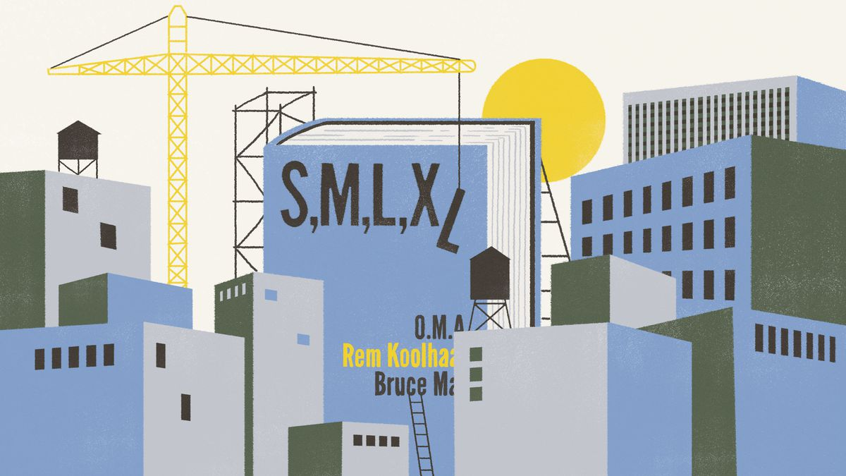A city scene of flat blue graphic buildings being erected by a crane. The central building is a book  cover with the title 'S,M,L,XL'. Illustration.
