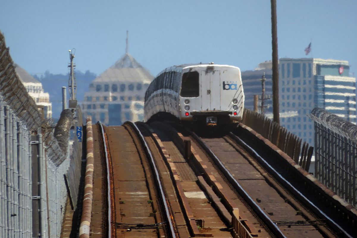A train exiting the Transbay Tube on the Oakland side.