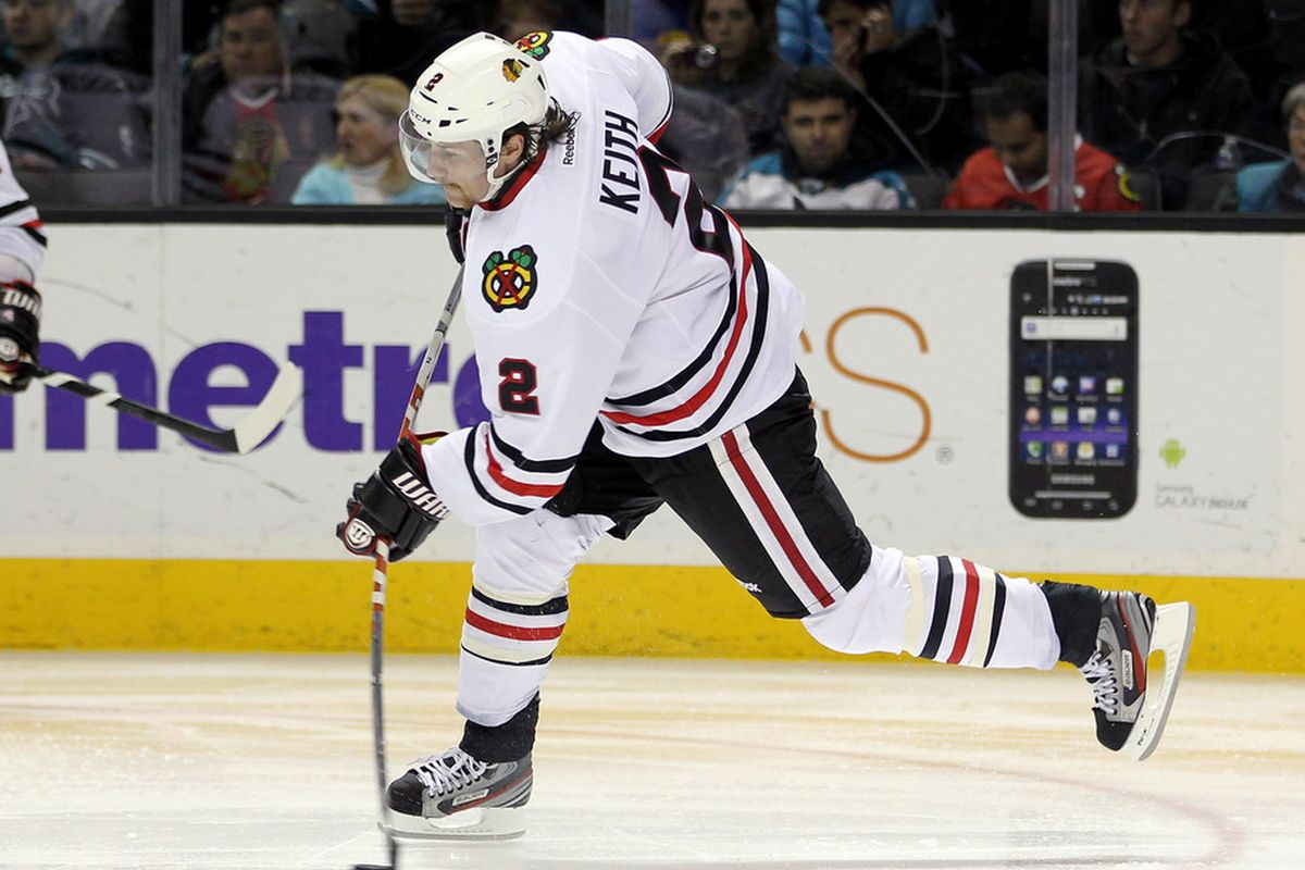 SAN JOSE, CA - NOVEMBER 23:  Duncan Keith #2 of the Chicago Blackhawks passes the puck during their game against the San Jose Sharks at HP Pavilion at San Jose on November 23, 2011 in San Jose, California.  (Photo by Ezra Shaw/Getty Images)