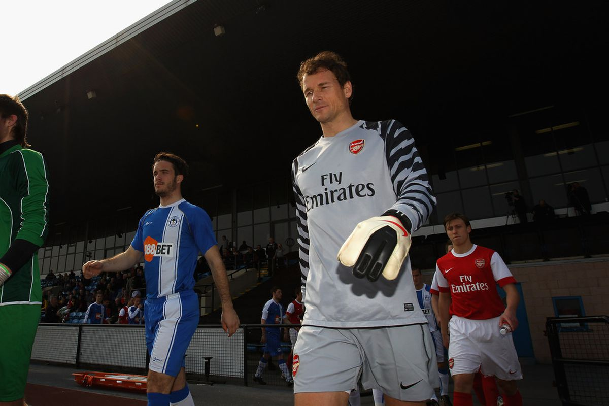WIGAN, ENGLAND - MARCH 29:  Jens Lehman of Arsenal walks out for the Barclays Premier Reserve League match between Wigan Athletic and Arsenal on March 29, 2011 in Wigan, England.  (Photo by Alex Livesey/Getty Images)