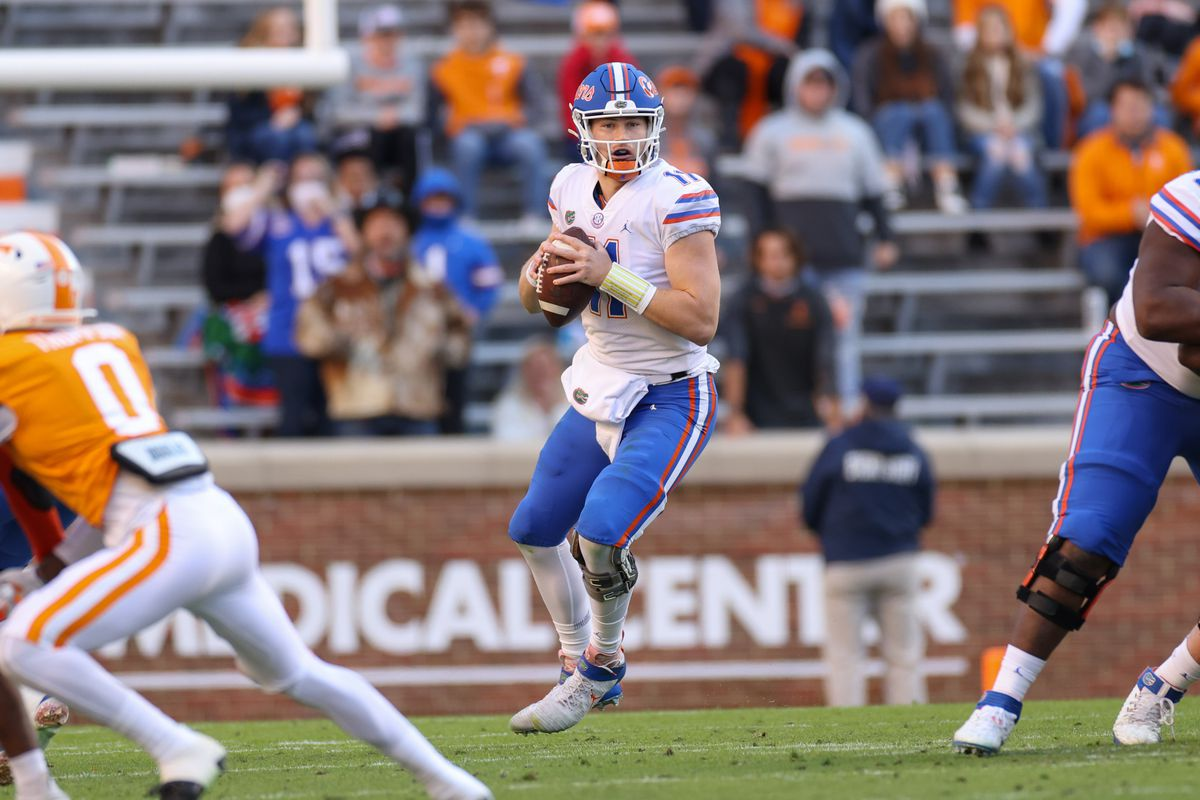 Florida Gators quarterback Kyle Trask (11) looks to pass the ball against the Tennessee Volunteers during the first half at Neyland Stadium.