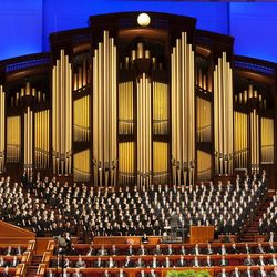 Members of a combined choir from BYU performs during the afternoon session Saturday, April 6, 2013 of the 183th Annual General Conference of The Church of Jesus Christ of Latter-day Saints in the Conference Center.
