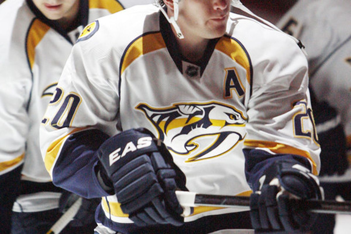 March 22, 2012; Pittsburgh, PA, USA; Nashville Predators defender Ryan Suter (20) takes the ice before playing against the Pittsburgh Penguins at the CONSOL Energy Center. Mandatory Credit: Charles LeClaire-US PRESSWIRE