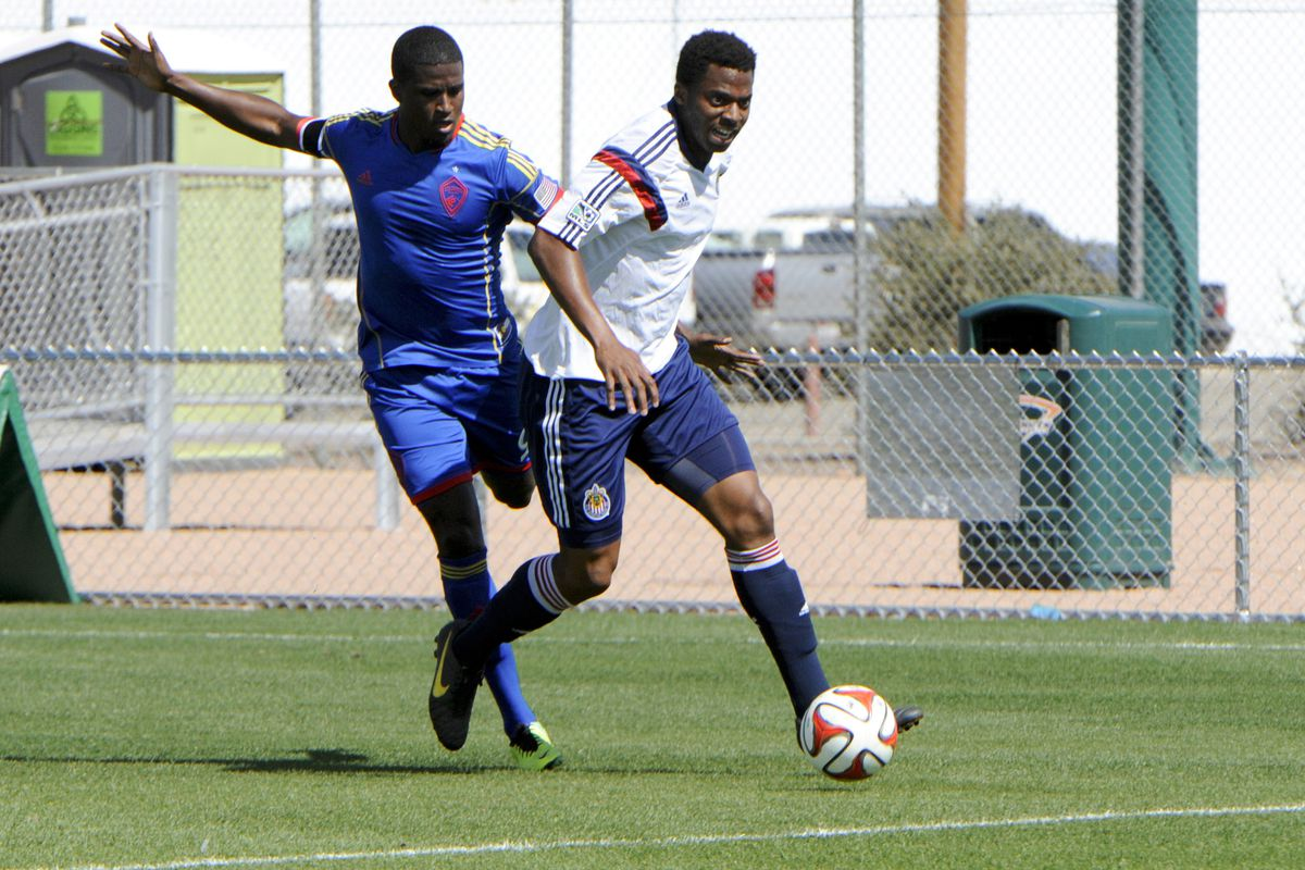 Nwiloh (right) in action in the preseason.
