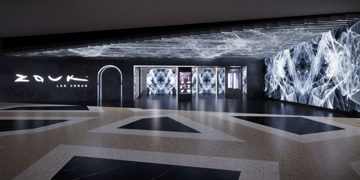 A black and white entrance to a nightclub