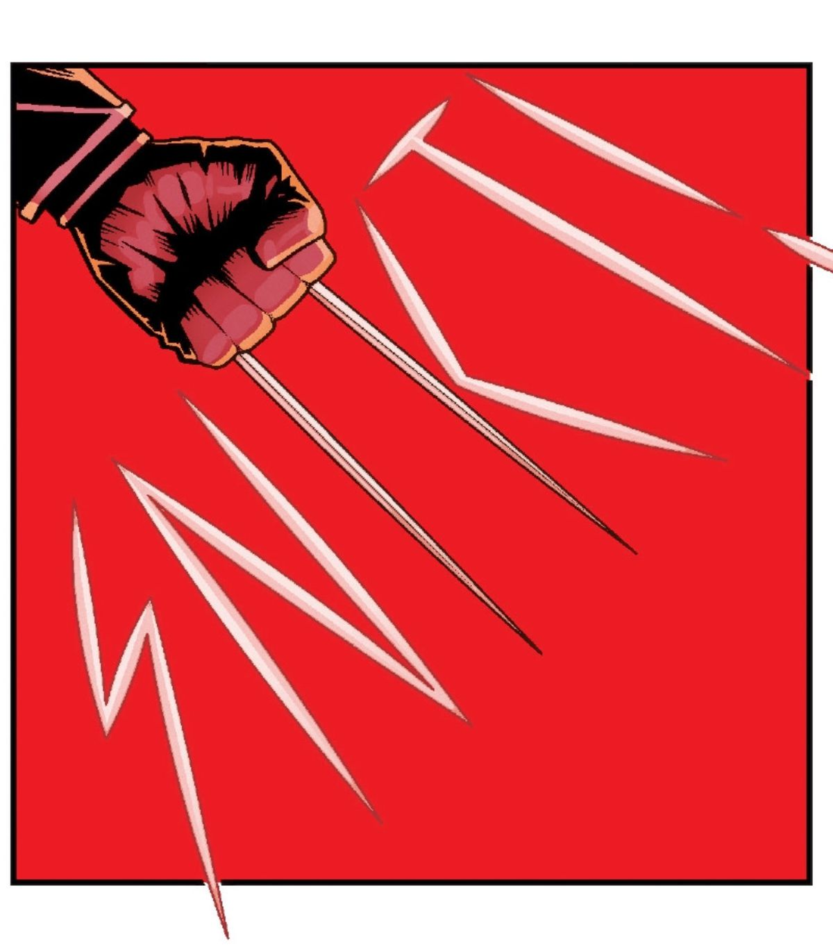 """Laura Kinney, Wolverine, pops her claws in All-New Wolverine #27. Her two claws form the I and part of the K in the sound effect """"SNIKT!"""""""