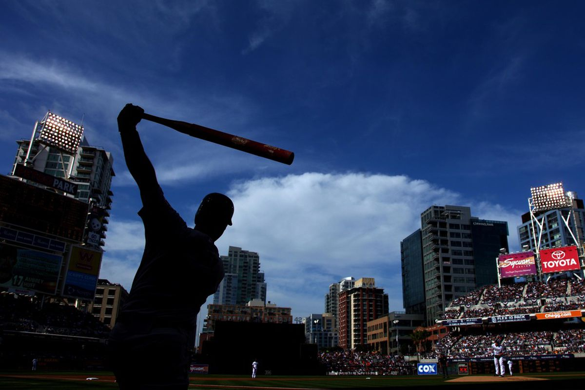 SAN DIEGO, CA - APRIL 5:  Buster Posey #28 of the San Francisco Giants warms up in the on deck circle against the San Diego Padres during their MLB Game at Petco Park on April 5, 2011 in San Diego, California. (Photo by Donald Miralle/Getty Images)