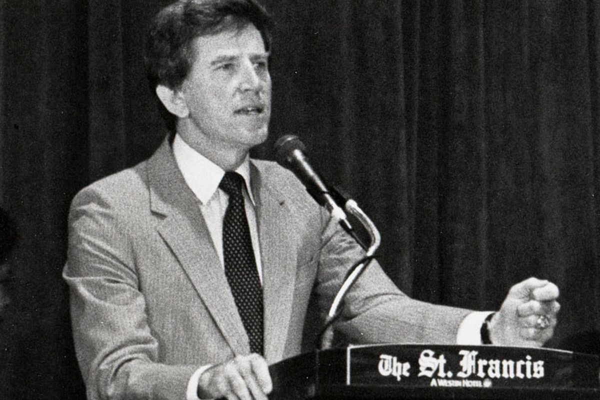 Gary Hart at the 1984 Democratic National Convention, where he came in second for the presidential nomination to Walter Mondale.