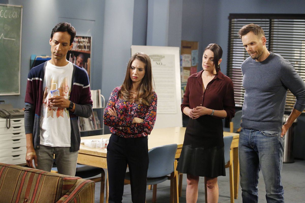 Abed (Danny Pudi, left), Annie (Alison Brie), and Jeff (Joel McHale) are all back for season six of Community. But who is this new person played by Paget Brewster?