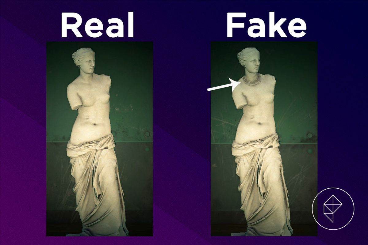 A comparison of the real and fake Beautiful Statue