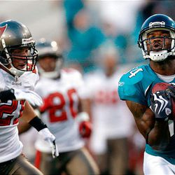 Jacksonville Jaguars wide receiver Troy Williamson, right, makes a first quarter touchdown catch in front of Tampa Bay Buccaneers safety Sabby Piscitelli.
