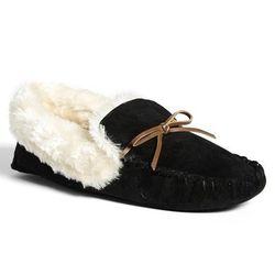 """<a href=""""http://shop.nordstrom.com/s/nordstrom-moccasin-slipper/3527065?"""">Moccasin Slipper</a>, $34 at Nordstrrom"""