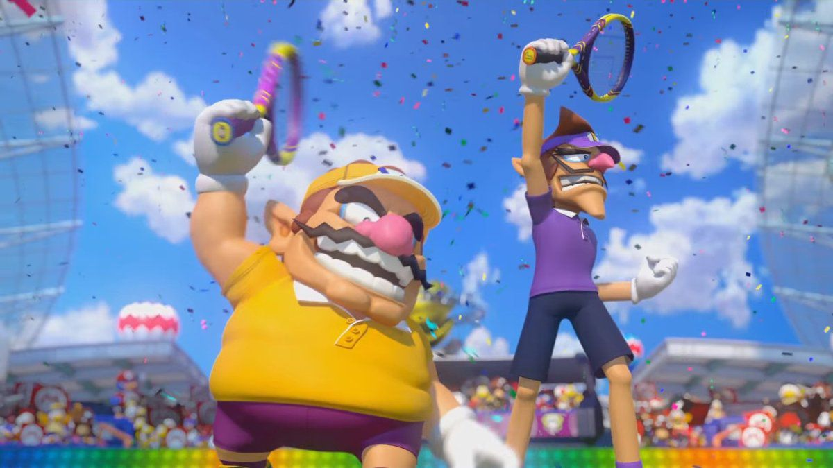 wario and waluigi wearing tennis gear