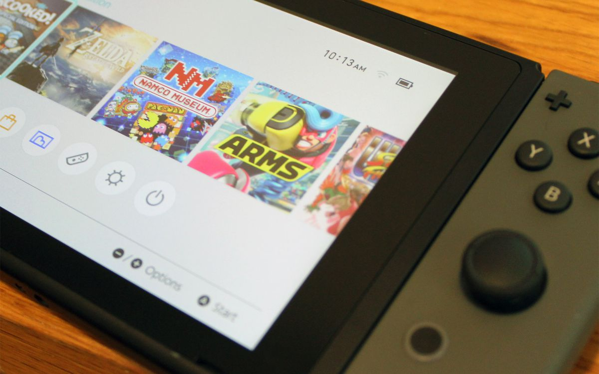 A print of a Nintendo Switch home shade with a battery assign icon