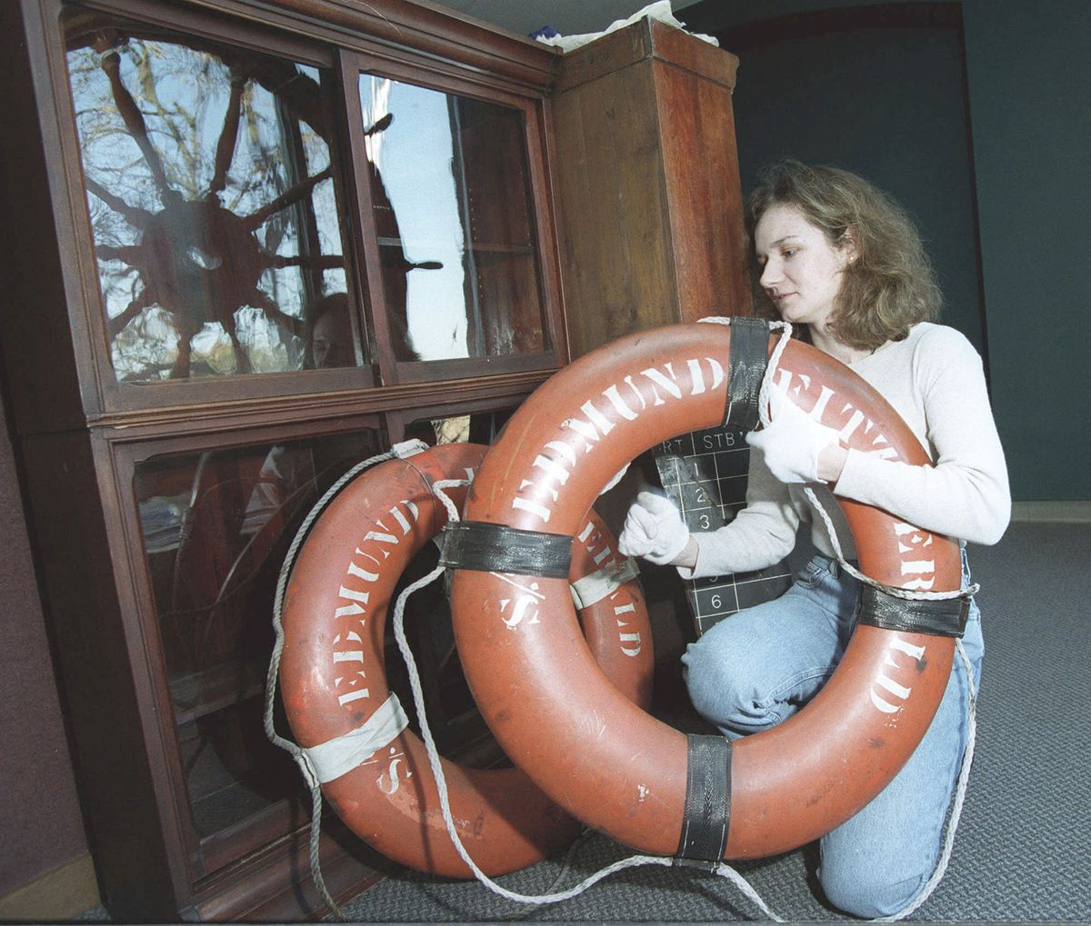 Life rings from the Edmund Fitzgerald at the Inland Seas Maritime Museum in Vermilion, Ohio in 2000.