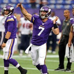 Aug 9, 2013; Minneapolis, MN, USA; Minnesota Vikings quarterback Christian Ponder (7) throws a pass during pre game before a game against the Houston Texans at the Metrodome.
