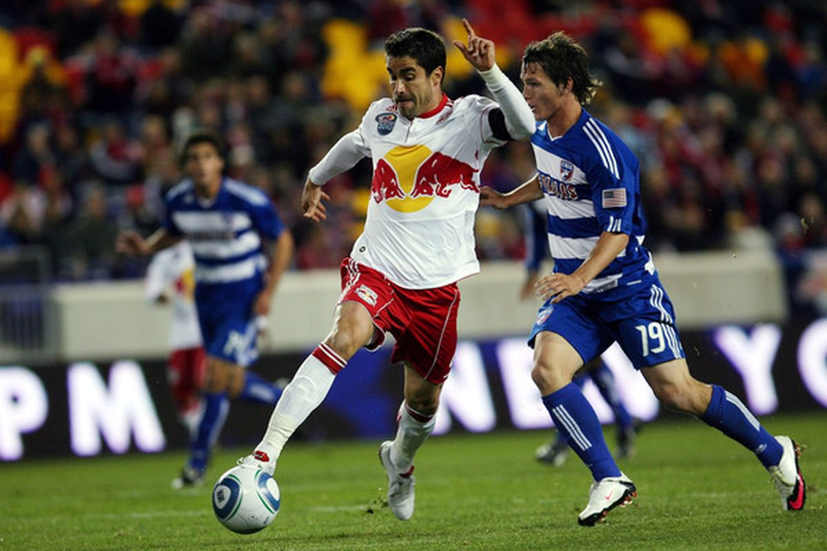 HARRISON, NJ - APRIL 17: Juan Pablo Angel #9 of the New York Red Bulls controls the ball from Zach Loyd #19 of the FC Dallas during the match at Red Bull Arena on April 17, 2010 in Harrison, New Jersey.  (Photo by Chris Trotman/Getty Images)
