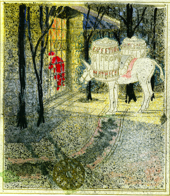 A Christmas card drawn by architect Bernard Maybeck for architect Julia Morgan shows a night-time scene with a donkey watching Santa Claus.