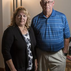 Suzanne Rengers, and her father, Frank Arnold Horton, both scammed by their tax preparer and financial manager, pose for a photo at Rengers' home in West Jordan on Tuesday, Sept. 27, 2016.