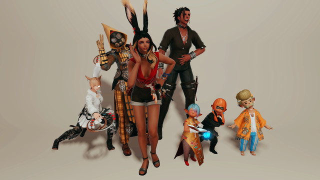 A group of Final Fantasy 14 characters stand in a variety of different clothing items