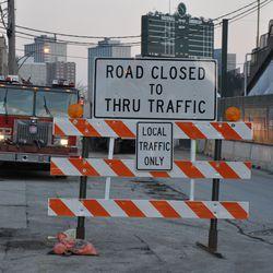 Construction sign warning motorists approaching Waveland