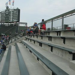 6:08 p.m. The top of the right-field bleachers, in front of the right-field porch -