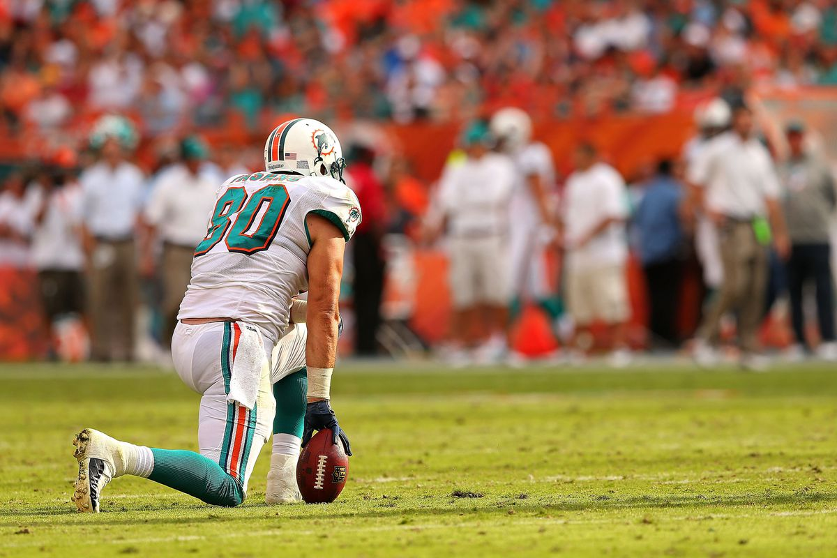Miami Dolphins tight end Anthony Fasano, here against the Jacksonville Jaguars, is being checked for a concussion he possibly received today against the New England Patriots.