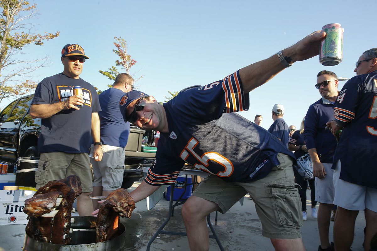Chicago Bears fans tailgating prior to the game between the Chicago Bears and the Green Bay Packers at Soldier Field on September 05, 2019 in Chicago, Illinois.