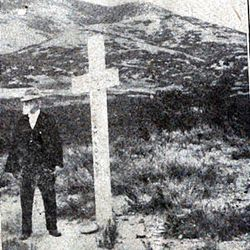 Amelia Young, widow of President Brigham Young, wears a cross in this photograph taken in 1895.__LDS President Joseph F. Smith talks at funeral at Brigham City Tabernacle amid cross-shaped floral arrangements.