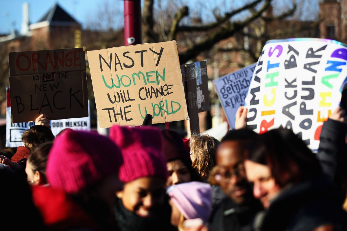 """Women's March In Amsterdam with a """"Nasty Woman"""" sign"""