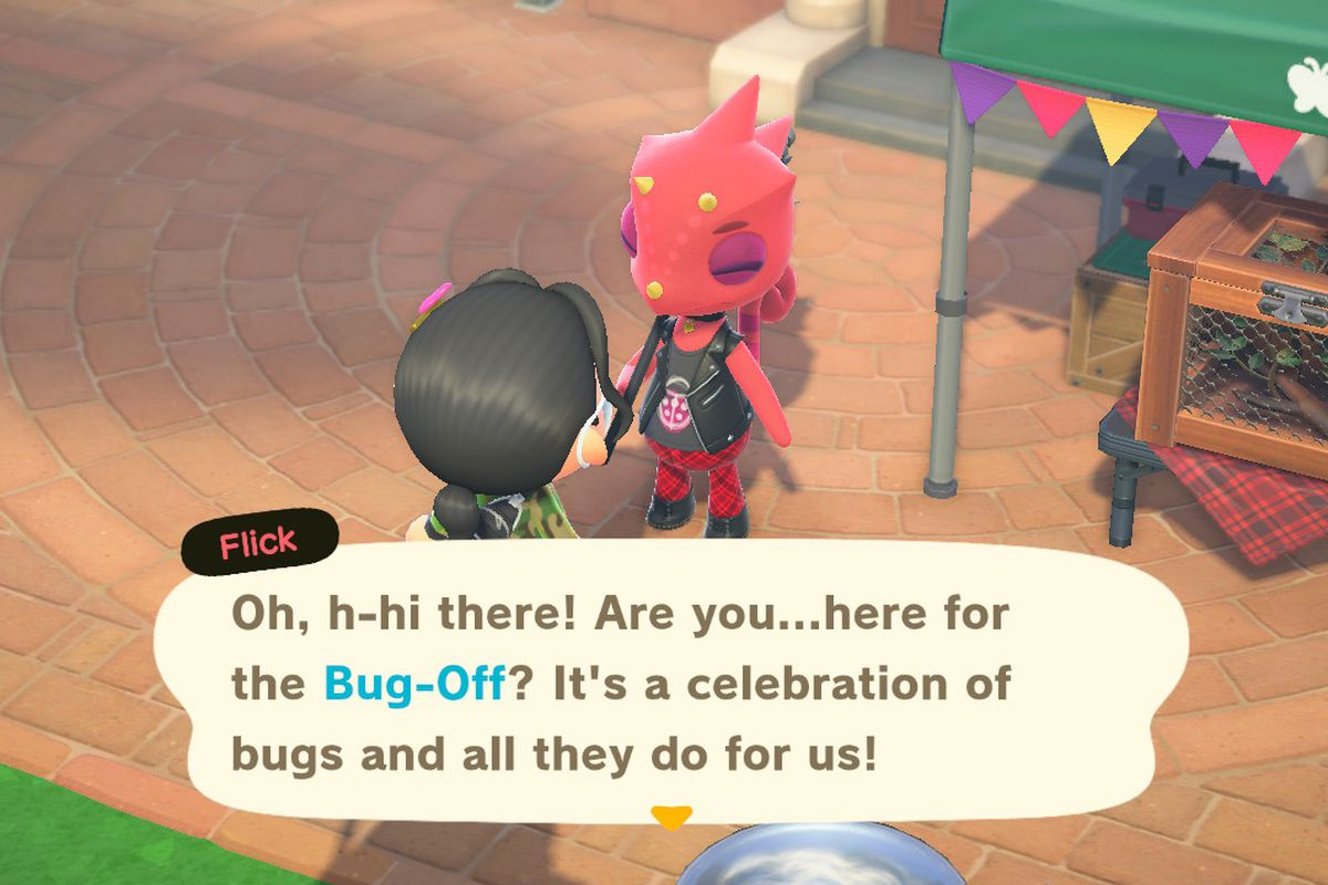 Flick, a red lizard, invites a villager to participate in the Bug-Off