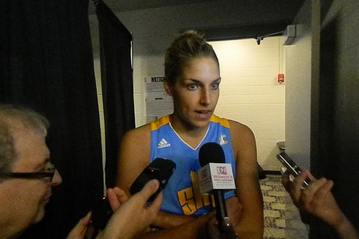 Star rookie Elena Delle Donne speaks to media after the Chicago Sky's 93-64 road win on Sunday.