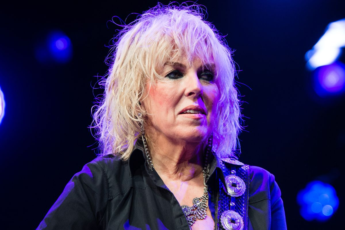 Lucinda Williams performs on stage during the Cambridge Folk Festival 2019 at Cherry Hinton Hall in Cambridge, England.