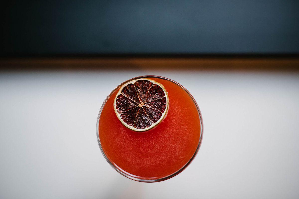 Cocktail with citrus garnish