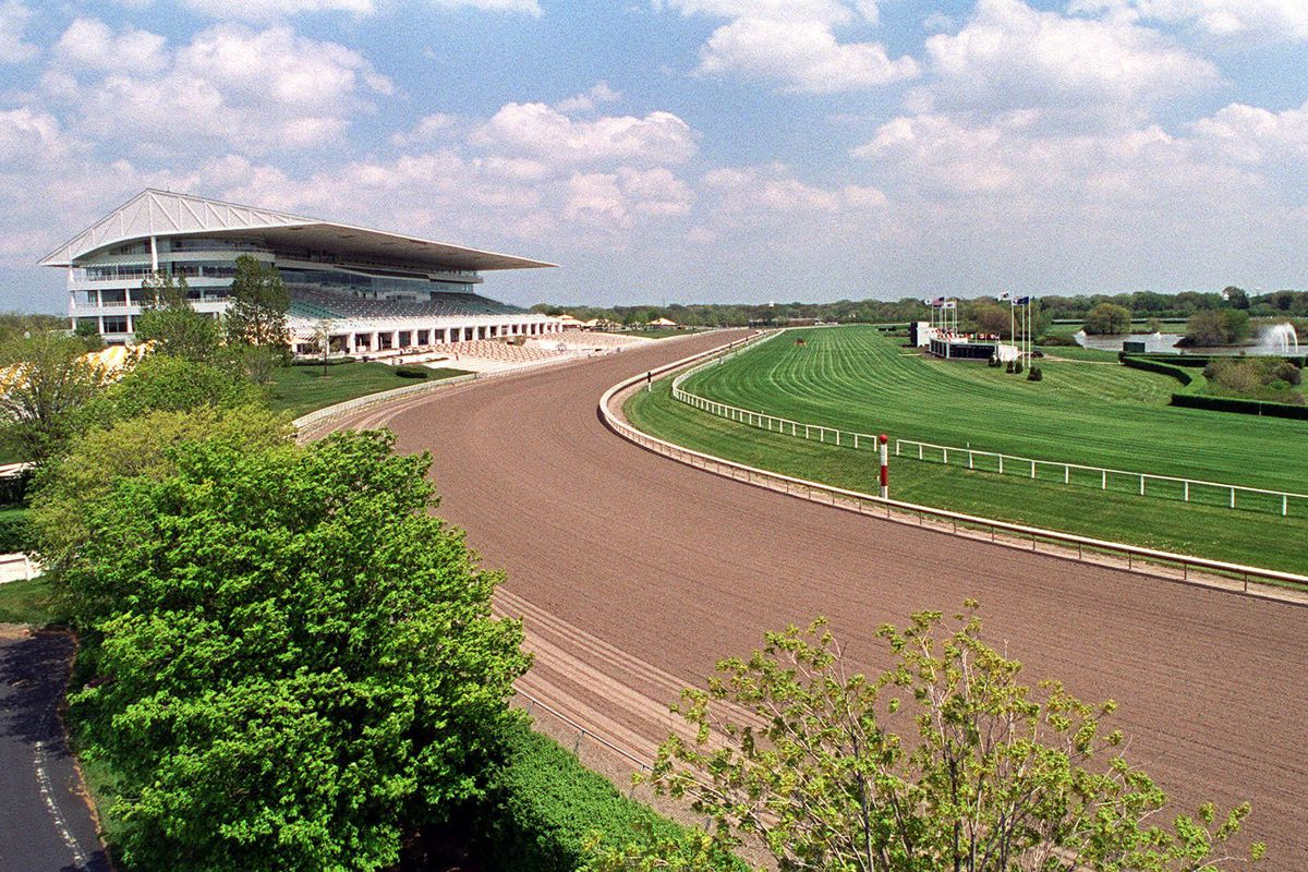 Arlington International Racecourse, pictured in 2000, when it was purchased by Churchill Downs Inc. The corporation is now selling the track.