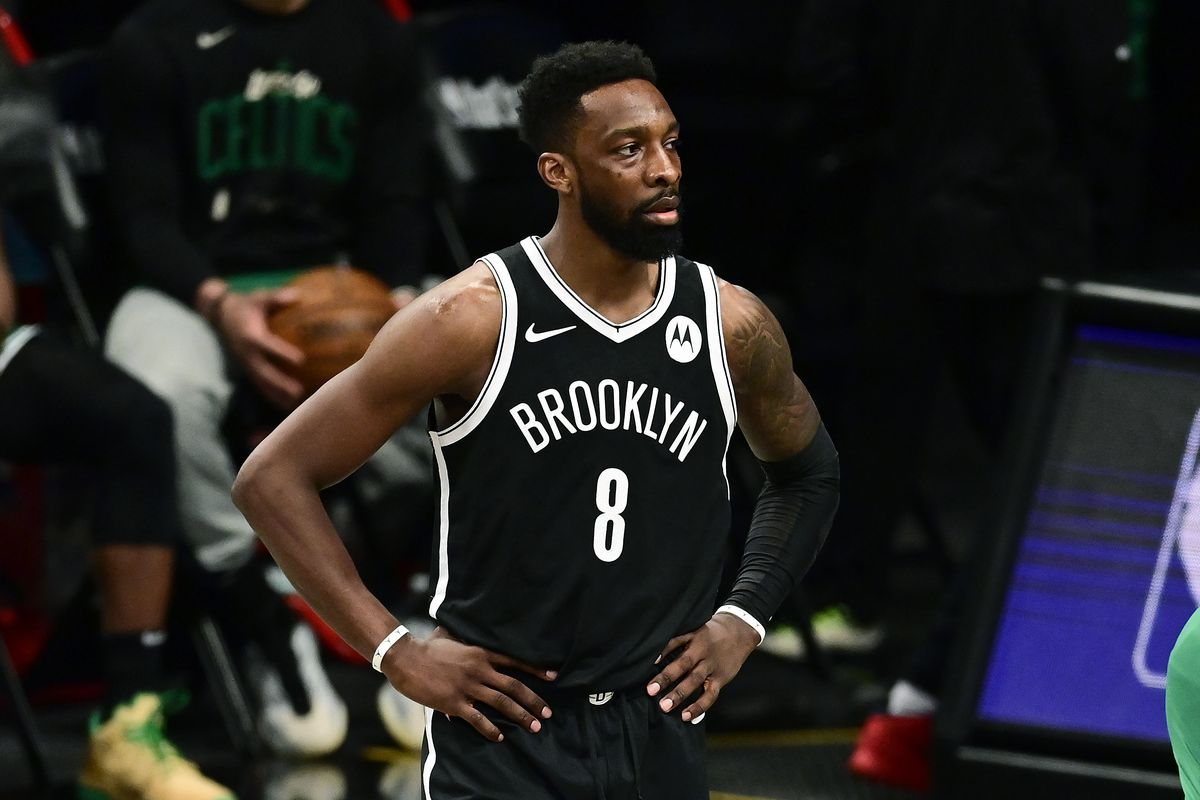 Jeff Green of the Brooklyn Nets in action against the Boston Celtics in Game One of the First Round of the 2021 NBA Playoffs at Barclays Center at Barclays Center on May 22, 2021 in New York City.