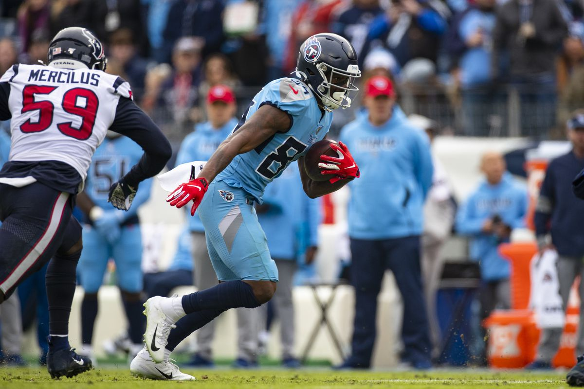 Corey Davis of the Tennessee Titans runs with a first down reception during the third quarter against the Houston Texans at Nissan Stadium on December 15, 2019 in Nashville, Tennessee.