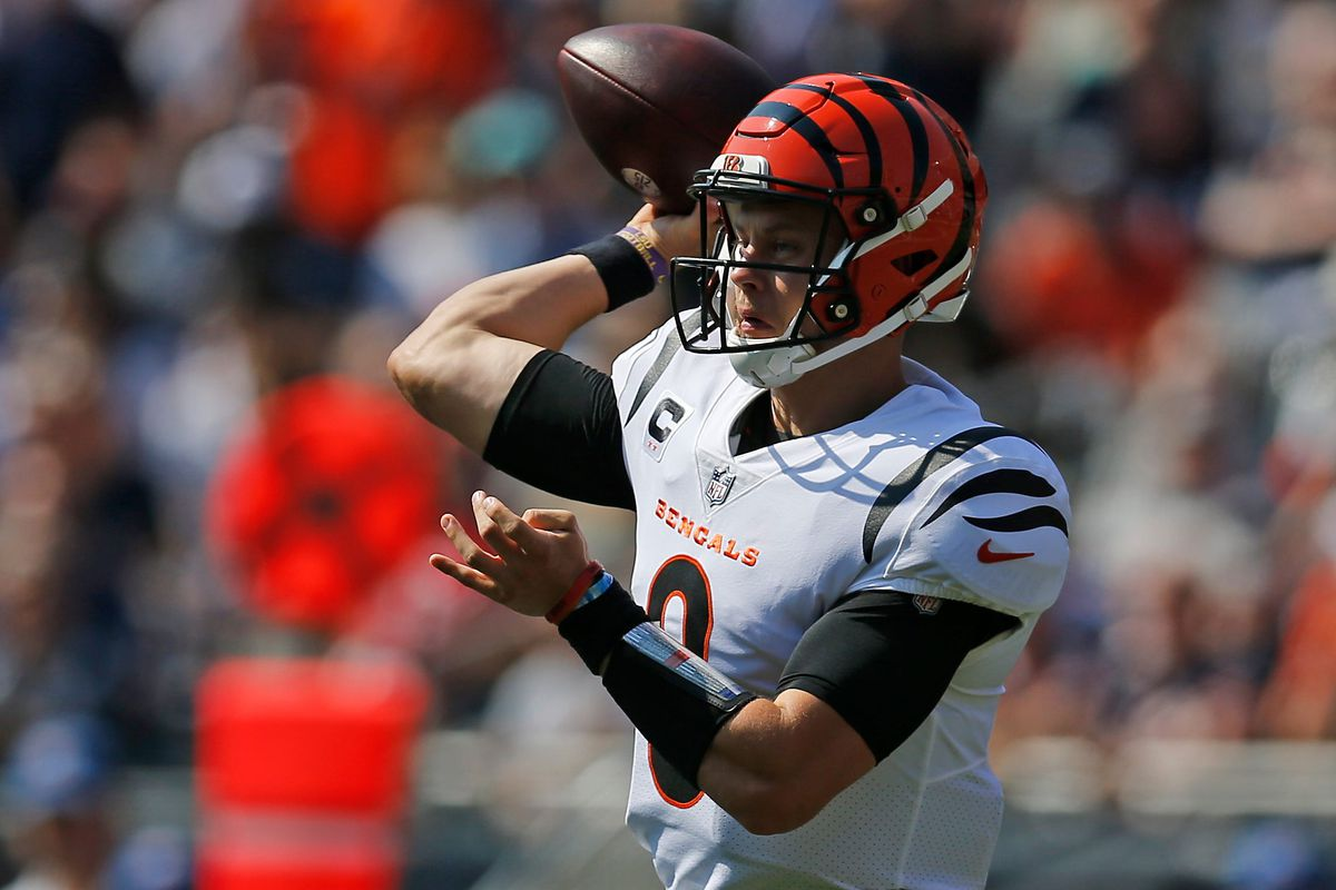 Cincinnati Bengals quarterback Joe Burrow (9) throws a pass in the first quarter of the NFL Week 2 game between the Chicago Bears and the Cincinnati Bengals at Soldier Field in Chicago on Sunday, Sept. 19, 2021.