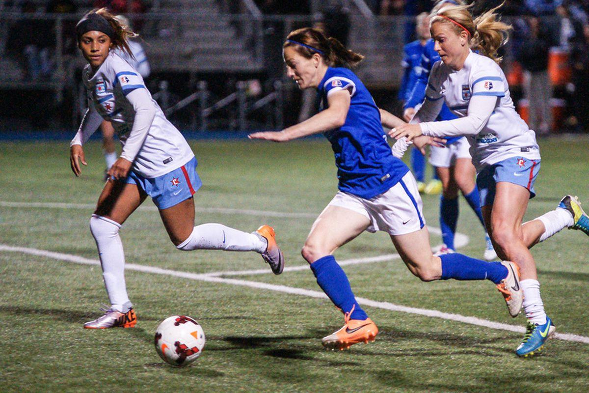 Blues forward Liz Bogus scored the game winner in Houston