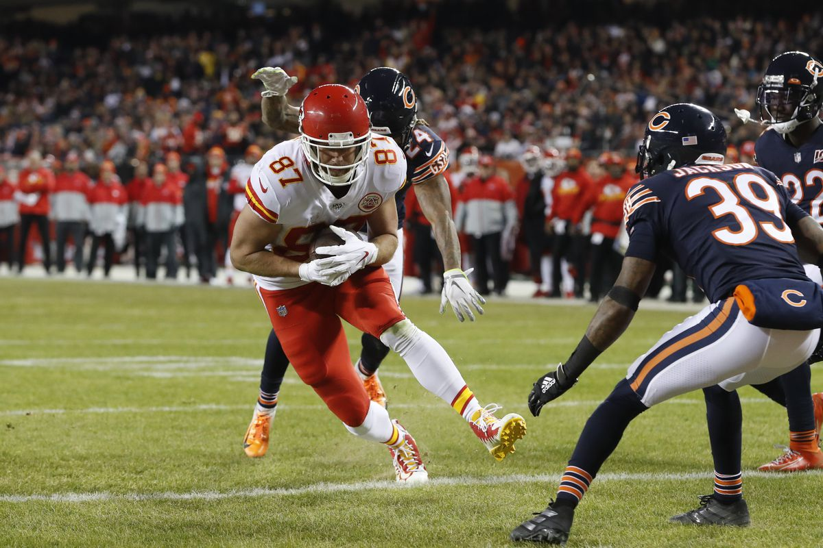 Kansas City Chiefs tight end Travis Kelce (scoring on a six-yard touchdown against the Bears on Dec. 22 at Soldier Field) had 97 receptions for 1,229 yards and five touchdowns this season. The yardage was fourth in the NFL and tops among tight ends.